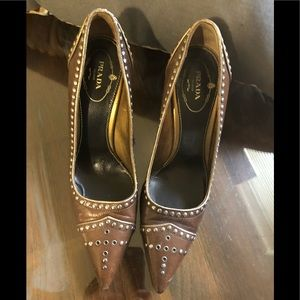 Prada brown heels w/ metal hardware